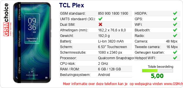 TCL Plex Technische gegevens