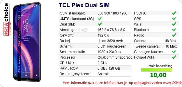 TCL Plex Dual SIM Technische gegevens