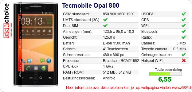 Tecmobile Opal 800 Technische gegevens