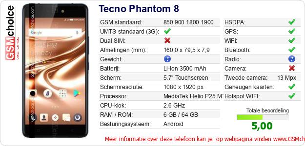 Tecno Phantom 8 Technische gegevens