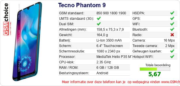 Tecno Phantom 9 Technische gegevens