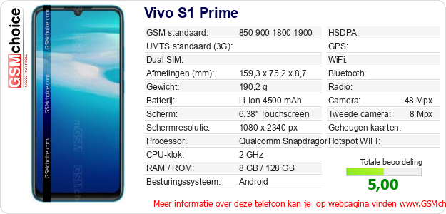 Vivo S1 Prime Technische gegevens