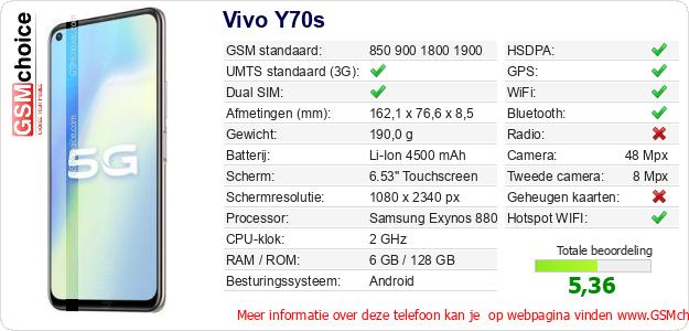 Vivo Y70s Technische gegevens
