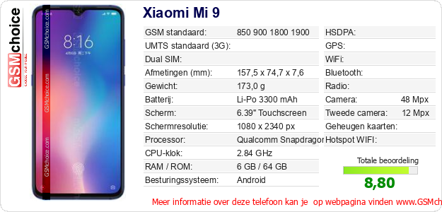 Xiaomi Mi 9 Technische gegevens