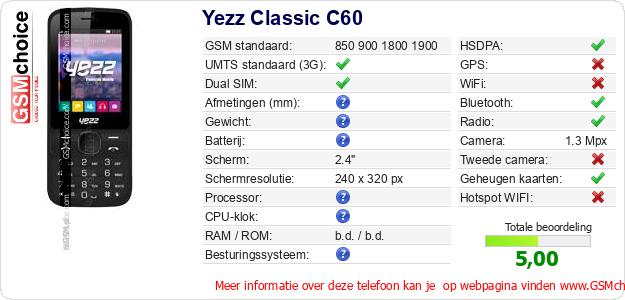 Yezz Classic C60 Technische gegevens