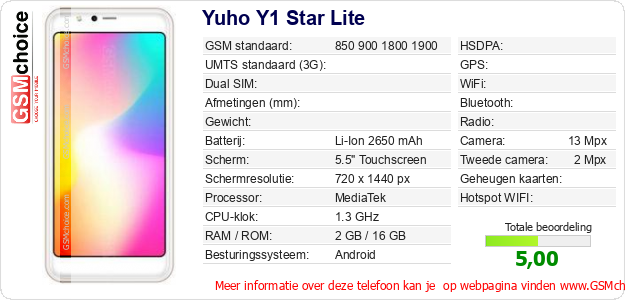 Yuho Y1 Star Lite Technische gegevens