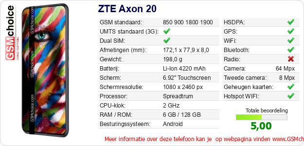 ZTE Axon 20 Technische gegevens