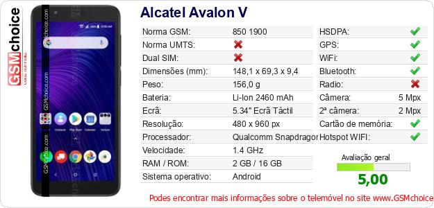 Alcatel Avalon V Especificações técnicas do telemóvel