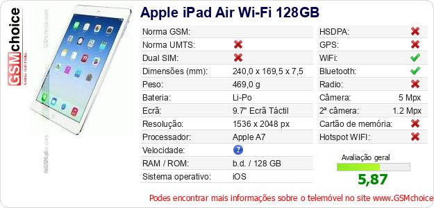 Apple iPad Air Wi-Fi 128GB Especificações técnicas do telemóvel