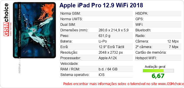 Apple iPad Pro 12.9 WiFi 2018 Especificações técnicas do telemóvel