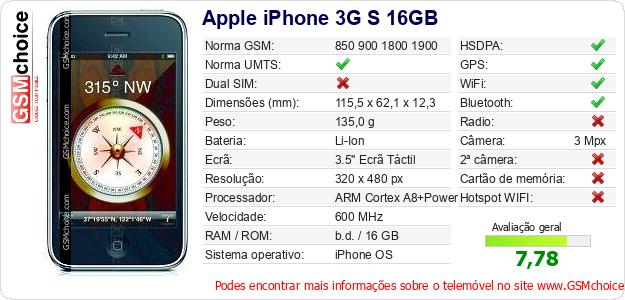 Apple iPhone 3G S 16GB Especificações técnicas do telemóvel