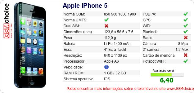 Apple iPhone 5 Especificações técnicas do telemóvel