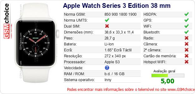 Apple Watch Series 3 Edition 38 mm Especificações técnicas do telemóvel