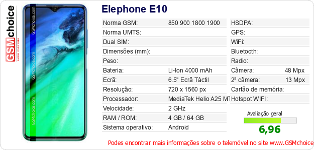 Elephone E10 Especificações técnicas do telemóvel