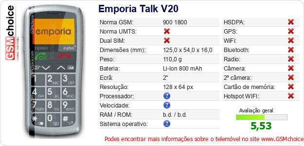 Emporia Talk V20 Especificações técnicas do telemóvel