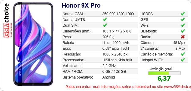 Honor 9X Pro Especificações técnicas do telemóvel