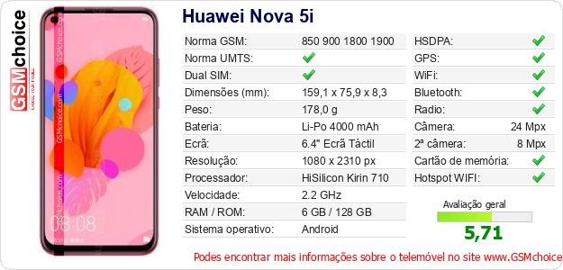 Huawei Nova 5i Especificações técnicas do telemóvel