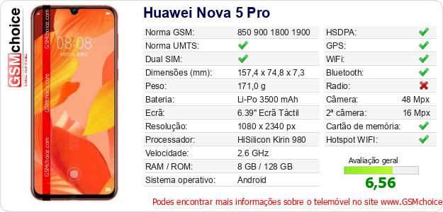 Huawei Nova 5 Pro Especificações técnicas do telemóvel