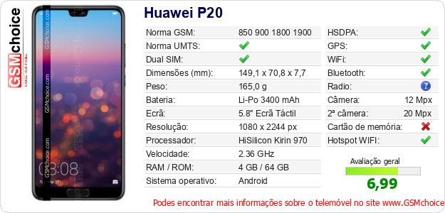 Huawei P20 Especificações técnicas do telemóvel