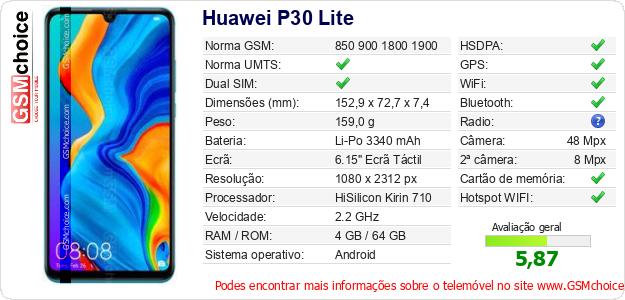 Huawei P30 Lite Especificações técnicas do telemóvel
