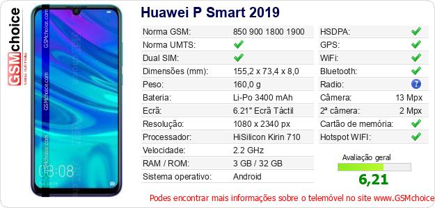 Huawei P Smart 2019 Especificações técnicas do telemóvel