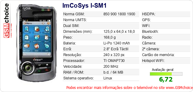 ImCoSys I-SM1 Especificações técnicas do telemóvel