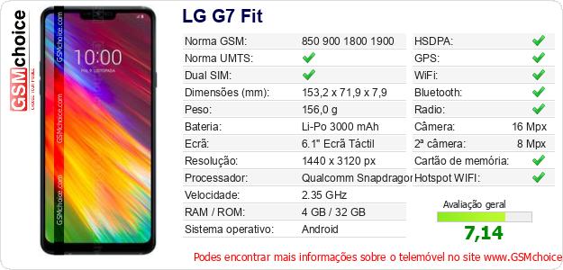 LG G7 Fit Especificações técnicas do telemóvel