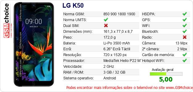 LG K50 Especificações técnicas do telemóvel