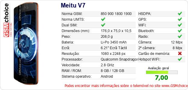 Meitu V7 Especificações técnicas do telemóvel