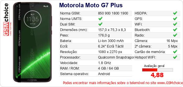 Motorola Moto G7 Plus Especificações técnicas do telemóvel