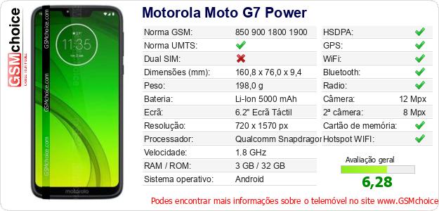 Motorola Moto G7 Power Especificações técnicas do telemóvel