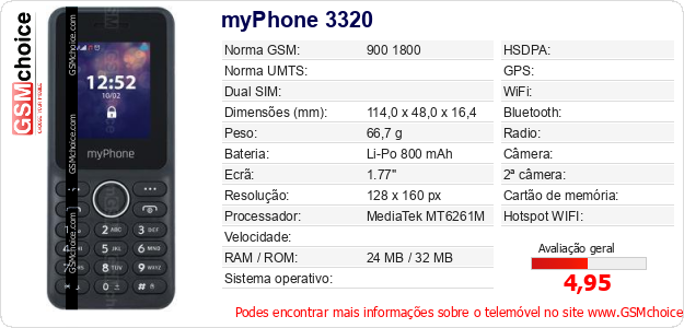 myPhone 3320 Especificações técnicas do telemóvel