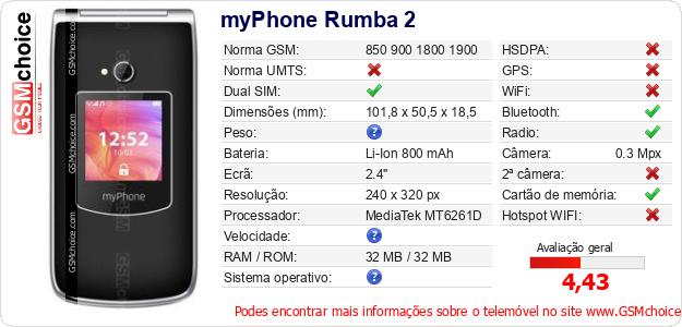 myPhone Rumba 2 Especificações técnicas do telemóvel