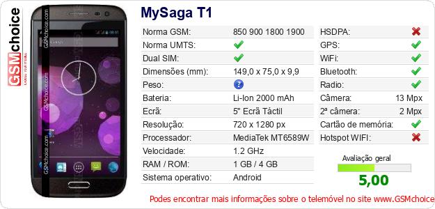 MySaga T1 Especificações técnicas do telemóvel
