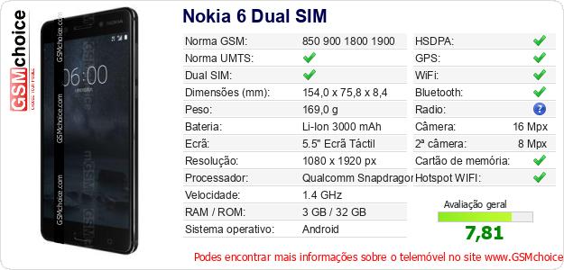 Nokia 6 Dual SIM Especificações técnicas do telemóvel