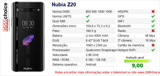 Nubia Z20 Especificações técnicas do telemóvel