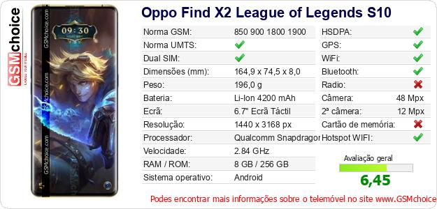 Oppo Find X2 League of Legends S10 Especificações técnicas do telemóvel
