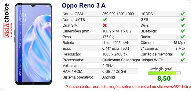 Oppo Reno 3 A Especificações técnicas do telemóvel
