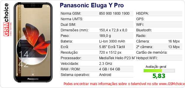 Panasonic Eluga Y Pro Especificações técnicas do telemóvel