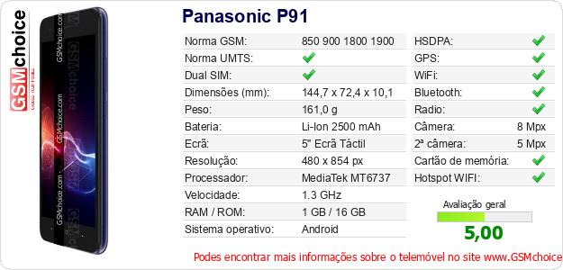 Panasonic P91 Especificações técnicas do telemóvel