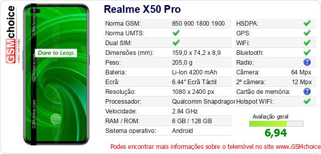 Realme X50 Pro Especificações técnicas do telemóvel