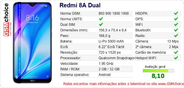 Redmi 8A Dual Especificações técnicas do telemóvel