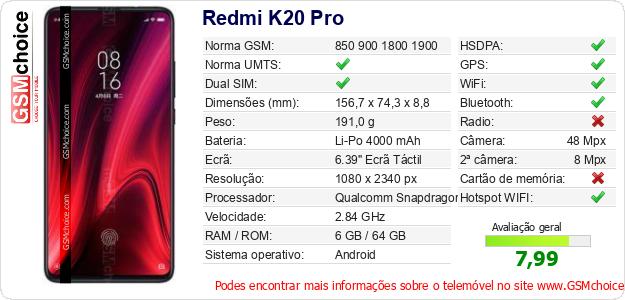 Redmi K20 Pro Especificações técnicas do telemóvel