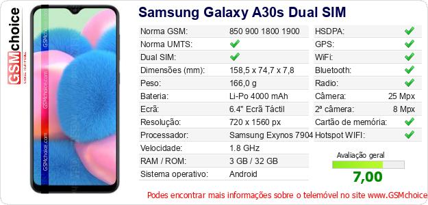 Samsung Galaxy A30s Dual SIM Especificações técnicas do telemóvel