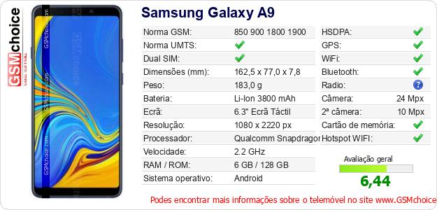 Samsung Galaxy A9 Especificações técnicas do telemóvel