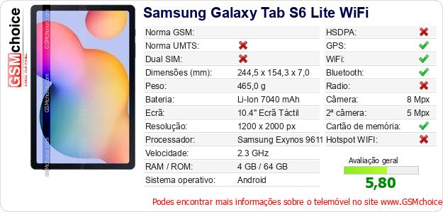 Samsung Galaxy Tab S6 Lite WiFi Especificações técnicas do telemóvel