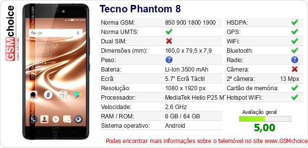 Tecno Phantom 8 Especificações técnicas do telemóvel