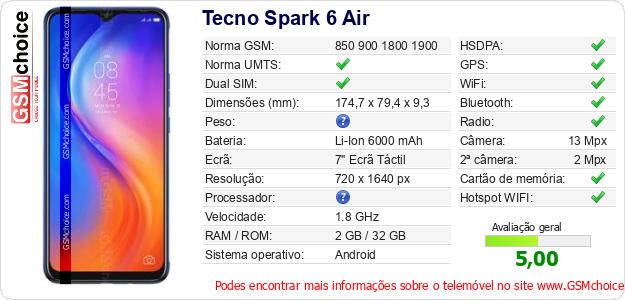 Tecno Spark 6 Air Especificações técnicas do telemóvel
