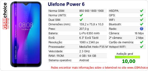 Ulefone Power 6 Especificações técnicas do telemóvel
