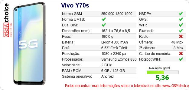 Vivo Y70s Especificações técnicas do telemóvel